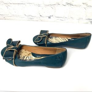 BORN Leather Ballet Flats with Bow - 6